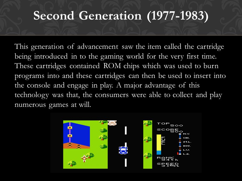 Classification of games generation: There are classified some games generation which are coming forward from the beginning of the era.