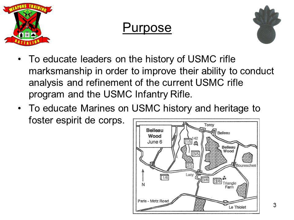 US Marine Corps Rifle Qualification 34 1912-1942 Annual Rifle Entry Level 1943-1955 Annual Rifle Entry Level 1955-1968 Annual Rifle A Course 1971-1986 ART & ELT A Course 1986-1993 ART & ELT A Course 1955-1971 Entry Level Rifle 1993-2007 Entry Level A Course 1993-2007 Annual Rifle S.L.R.