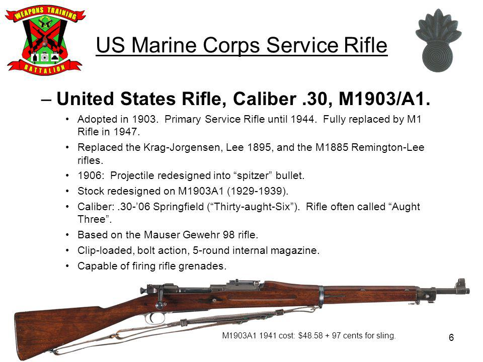 US Marine Corps Service Rifle –United States Rifle, Caliber.30, M1903/A1.