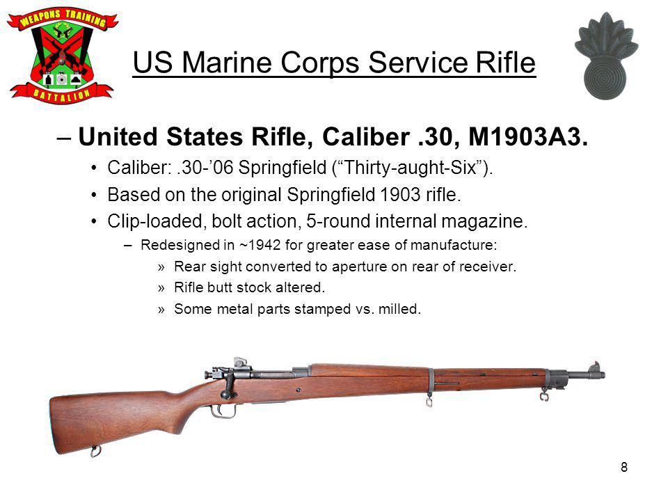 US Marine Corps Service Rifle –United States Rifle, Caliber.30, M1903/A3.