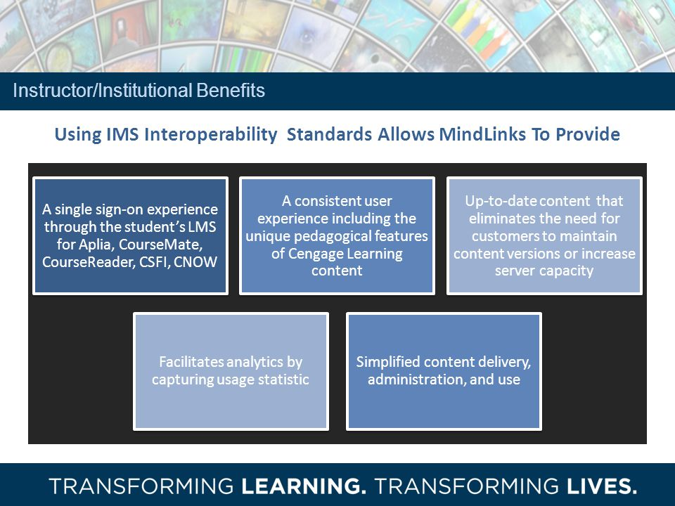 Using IMS Interoperability Standards Allows MindLinks To Provide A single sign-on experience through the students LMS for Aplia, CourseMate, CourseReader, CSFI, CNOW A consistent user experience including the unique pedagogical features of Cengage Learning content Up-to-date content that eliminates the need for customers to maintain content versions or increase server capacity Facilitates analytics by capturing usage statistic Simplified content delivery, administration, and use Instructor/Institutional Benefits