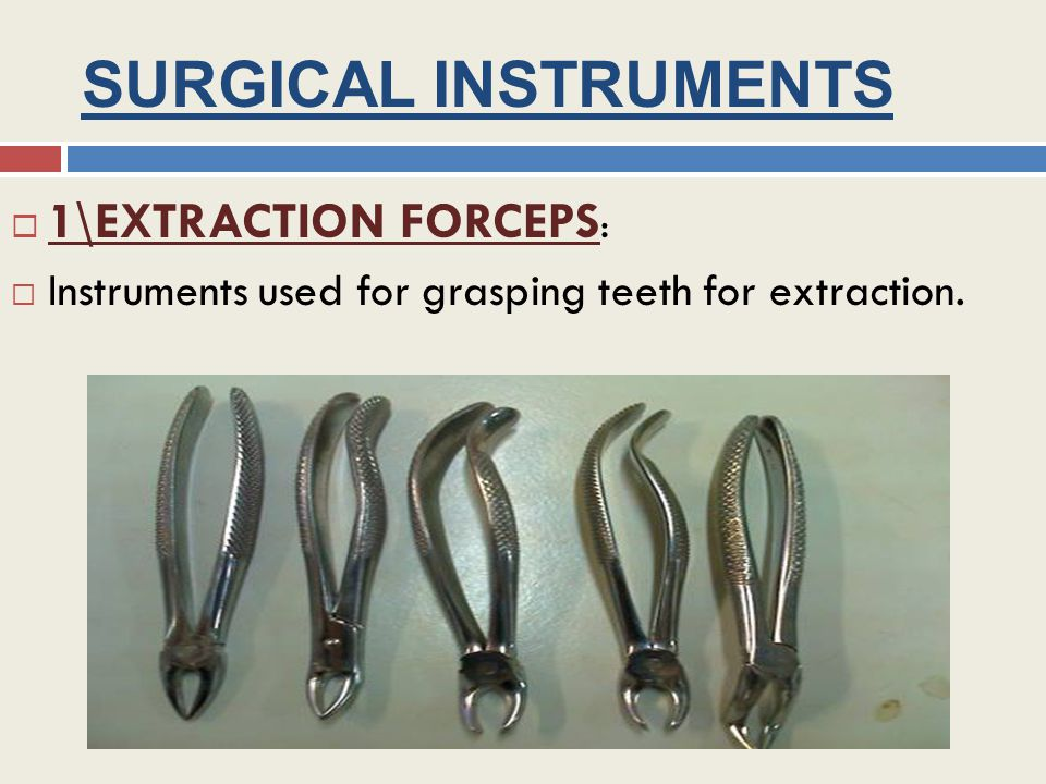 SURGICAL INSTRUMENTS 1\EXTRACTION FORCEPS : Instruments used for grasping teeth for extraction.