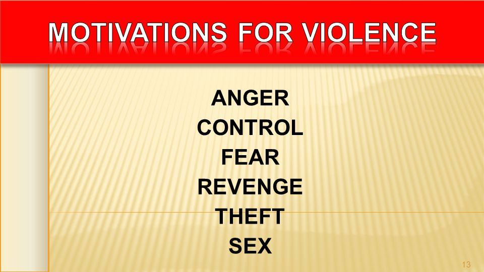 ANGER CONTROL FEAR REVENGE THEFT SEX 13