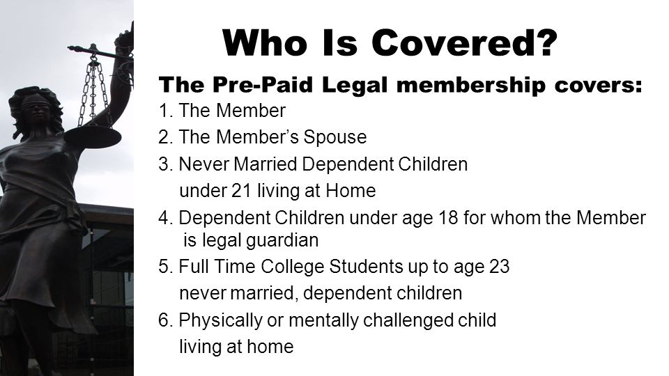 1. The Member 2. The Members Spouse 3. Never Married Dependent Children under 21 living at Home 4. Dependent Children under age 18 for whom the Member