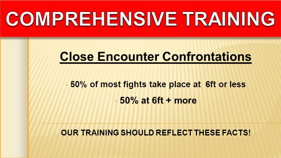 50% of most fights take place at 6ft or less 50% at 6ft + more OUR TRAINING SHOULD REFLECT THESE FACTS! Close Encounter Confrontations