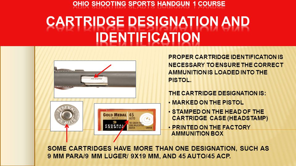 PROPER CARTRIDGE IDENTIFICATION IS NECESSARY TO ENSURE THE CORRECT AMMUNITION IS LOADED INTO THE PISTOL. THE CARTRIDGE DESIGNATION IS: MARKED ON THE P