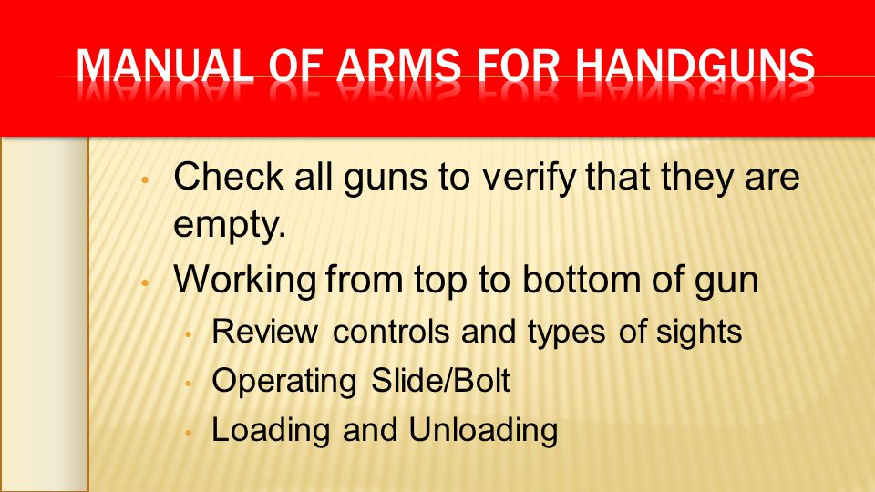 Check all guns to verify that they are empty. Working from top to bottom of gun Review controls and types of sights Operating Slide/Bolt Loading and U