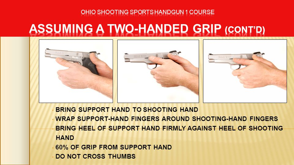 BRING SUPPORT HAND TO SHOOTING HAND WRAP SUPPORT-HAND FINGERS AROUND SHOOTING-HAND FINGERS BRING HEEL OF SUPPORT HAND FIRMLY AGAINST HEEL OF SHOOTING HAND 60% OF GRIP FROM SUPPORT HAND DO NOT CROSS THUMBS