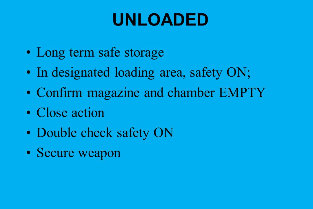 UNLOADED Long term safe storage In designated loading area, safety ON; Confirm magazine and chamber EMPTY Close action Double check safety ON Secure weapon
