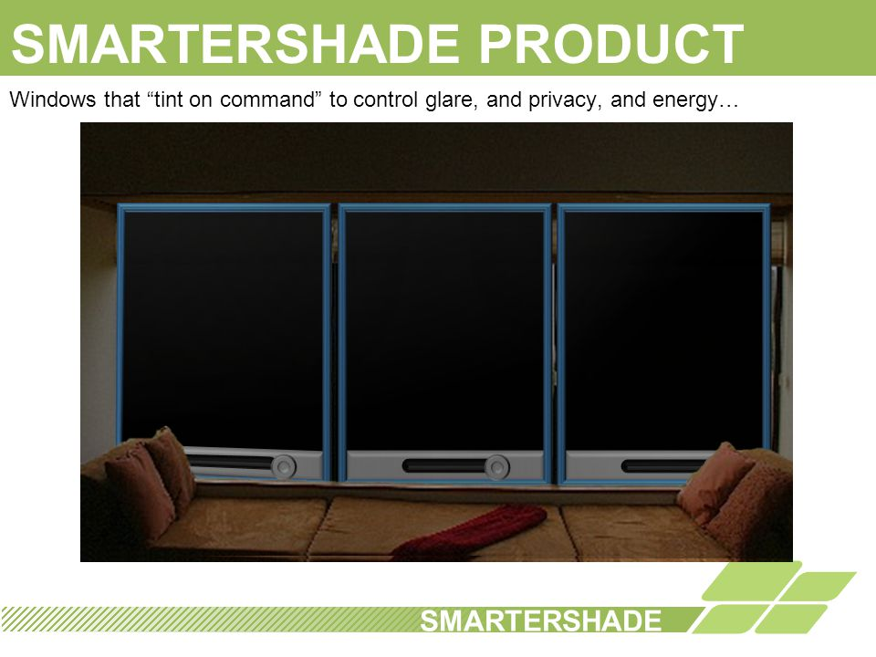 BUSINESS MODEL SMARTERSHADE 1 3 2 License application and pattern to film makers Joint Development/ Partnership Opportunity Product sales of full window systems Joint Venture Relationships with initial Glass Fabricators License of window system manufacturing IP JV/ Strategic Partner License of Manufacturing Process Phase 2
