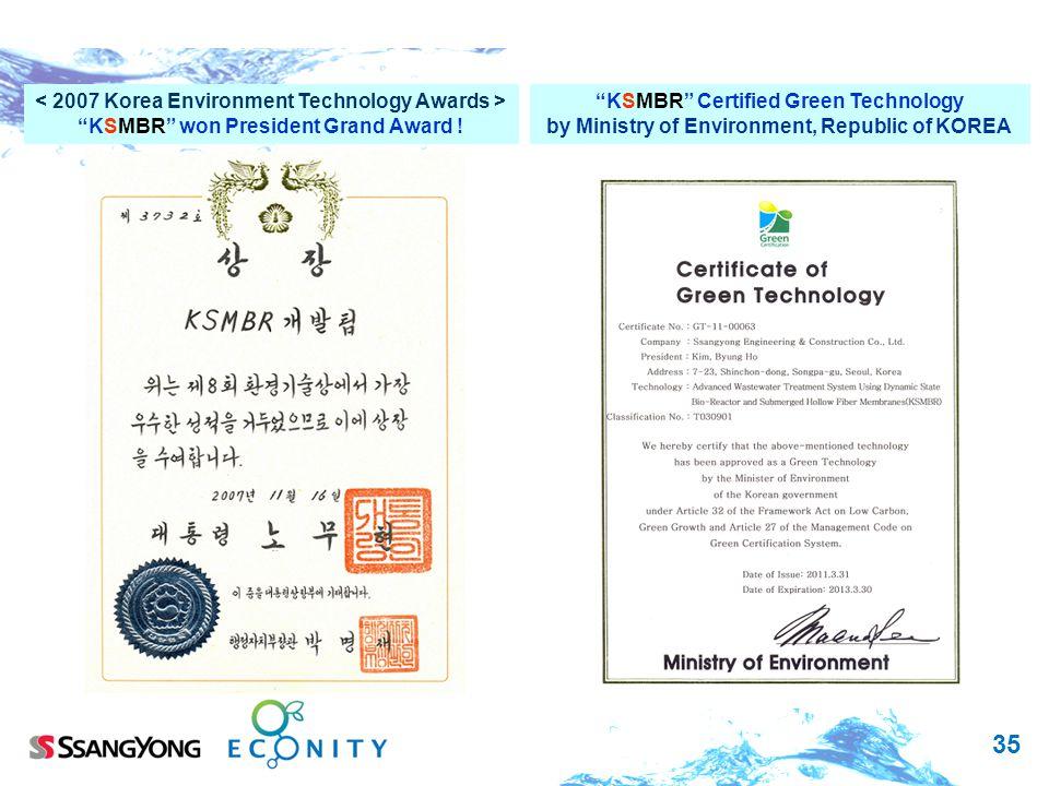35 KSMBR won President Grand Award ! KSMBR Certified Green Technology by Ministry of Environment, Republic of KOREA