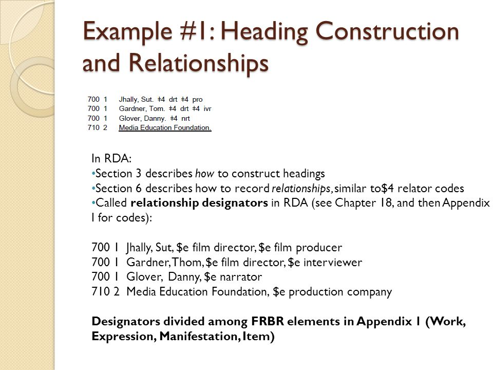 Example #1: Heading Construction and Relationships In RDA: Section 3 describes how to construct headings Section 6 describes how to record relationshi