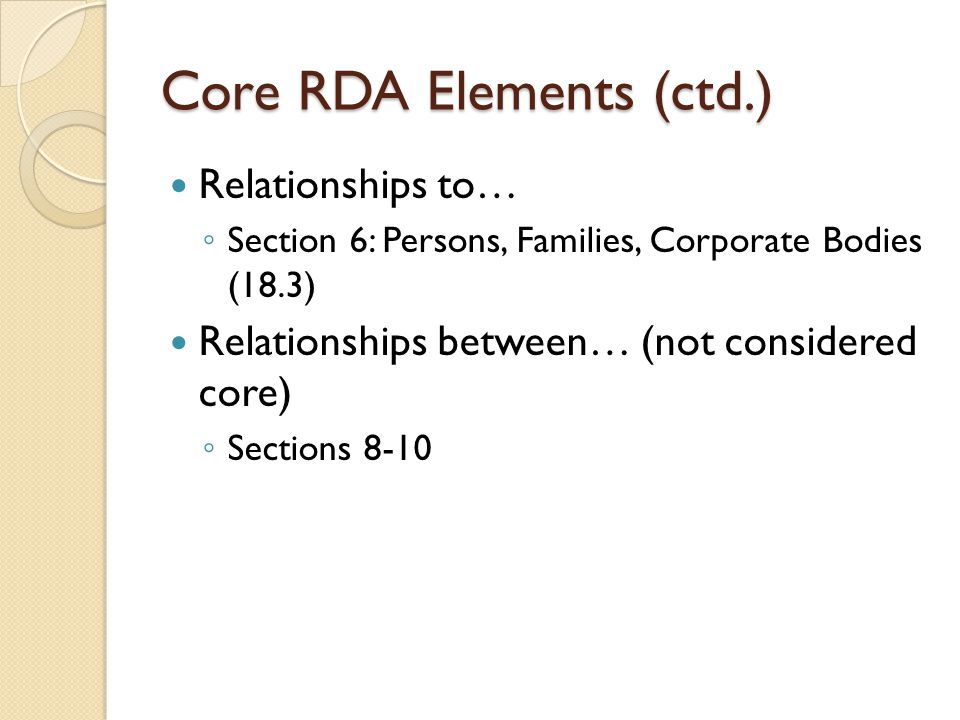 Core RDA Elements (ctd.) Relationships to… Section 6: Persons, Families, Corporate Bodies (18.3) Relationships between… (not considered core) Sections