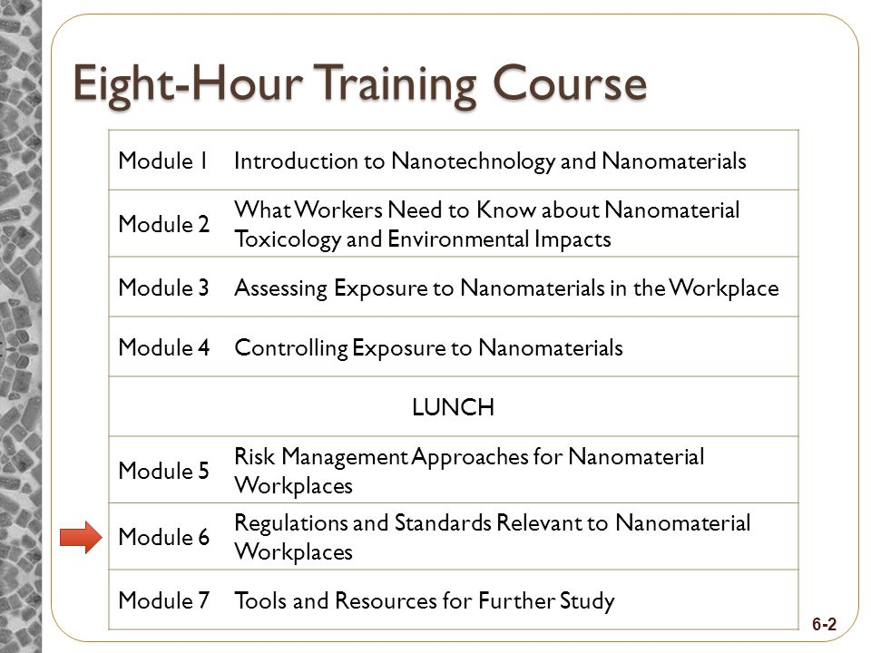 6-2 Eight-Hour Training Course Module 1Introduction to Nanotechnology and Nanomaterials Module 2 What Workers Need to Know about Nanomaterial Toxicology and Environmental Impacts Module 3Assessing Exposure to Nanomaterials in the Workplace Module 4Controlling Exposure to Nanomaterials LUNCH Module 5 Risk Management Approaches for Nanomaterial Workplaces Module 6 Regulations and Standards Relevant to Nanomaterial Workplaces Module 7Tools and Resources for Further Study