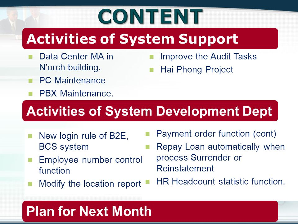 Activities of System Support Dept Activities of System Development Dept Plan for Next Month New login rule of B2E, BCS system Employee number control function Modify the location report Data Center MA in Norch building.