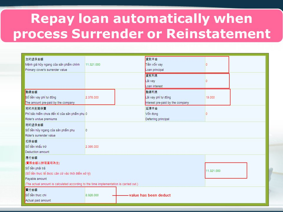 Copyright © Wondershare Software Repay loan automatically when process Surrender or Reinstatement