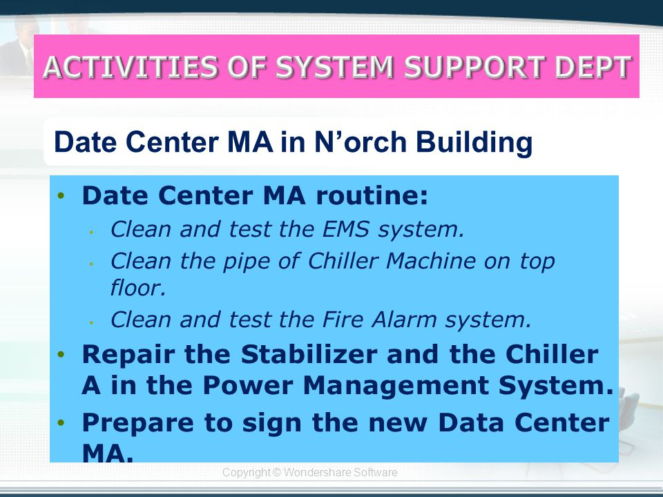 Copyright © Wondershare Software Date Center MA routine: Clean and test the EMS system.