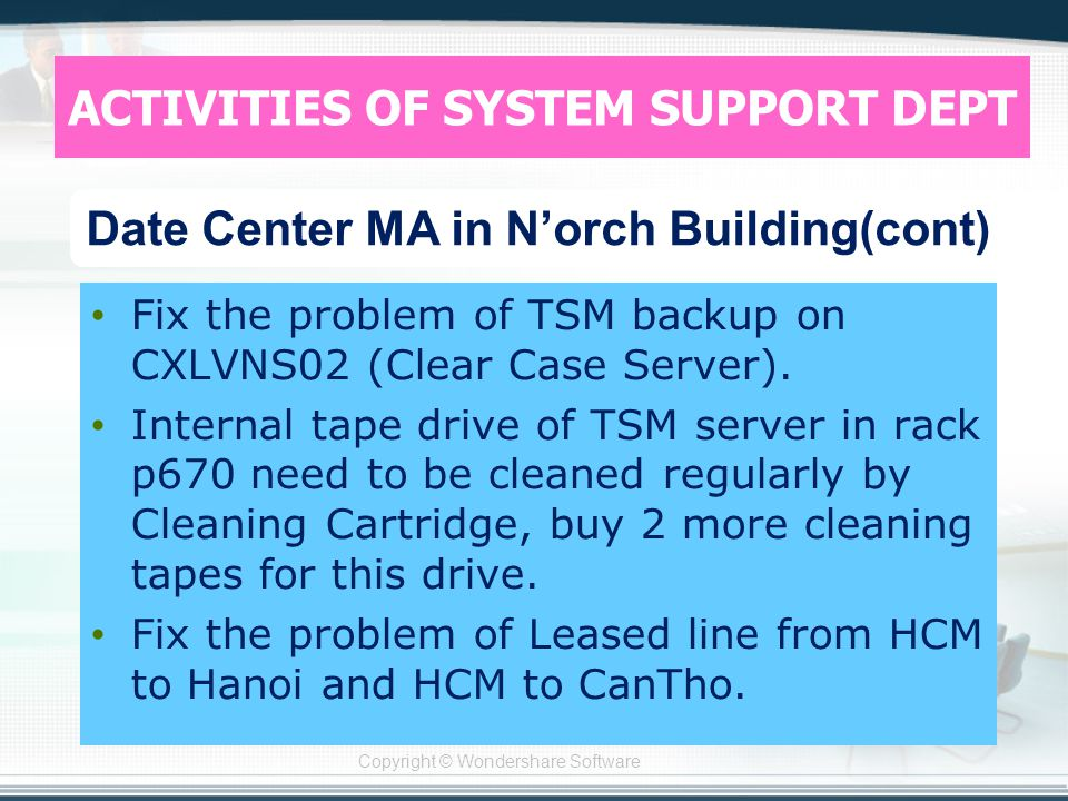 Copyright © Wondershare Software Fix the problem of TSM backup on CXLVNS02 (Clear Case Server).