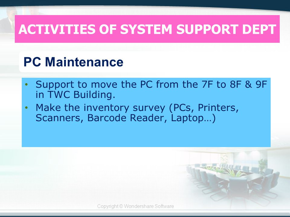 Copyright © Wondershare Software Support to move the PC from the 7F to 8F & 9F in TWC Building.