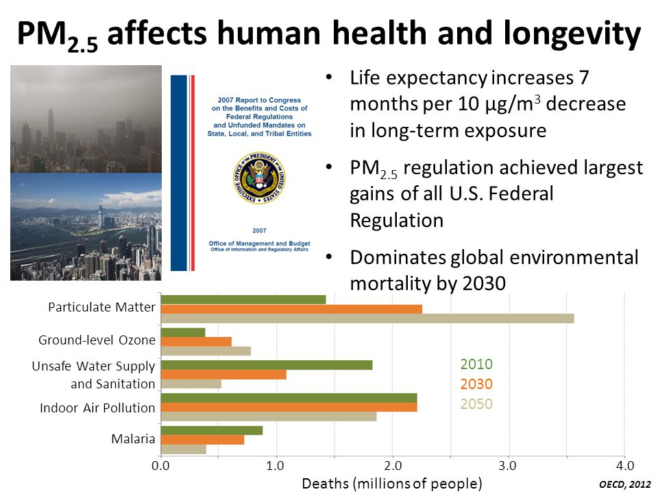 PM 2.5 affects human health and longevity Particulate Matter Ground-level Ozone Unsafe Water Supply and Sanitation Indoor Air Pollution Malaria 0.0 1.