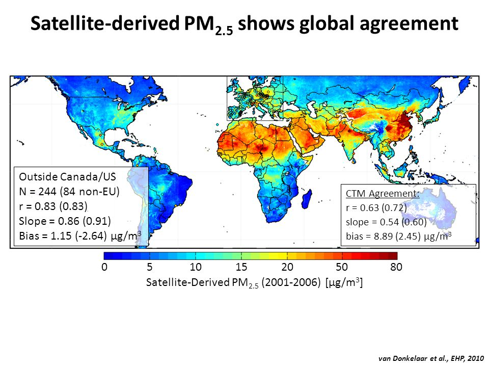 Satellite-derived PM 2.5 shows global agreement Outside Canada/US N = 244 (84 non-EU) r = 0.83 (0.83) Slope = 0.86 (0.91) Bias = 1.15 (-2.64) μg/m 3 C