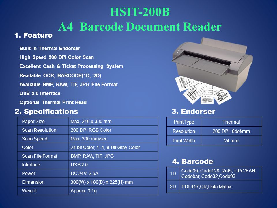 HSIT-200B A4 Barcode Document Reader Paper SizeMax.
