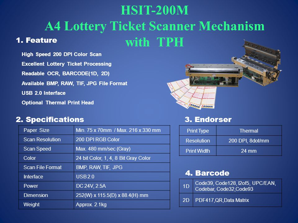 HSIT-200M A4 Lottery Ticket Scanner Mechanism with TPH Paper SizeMin.