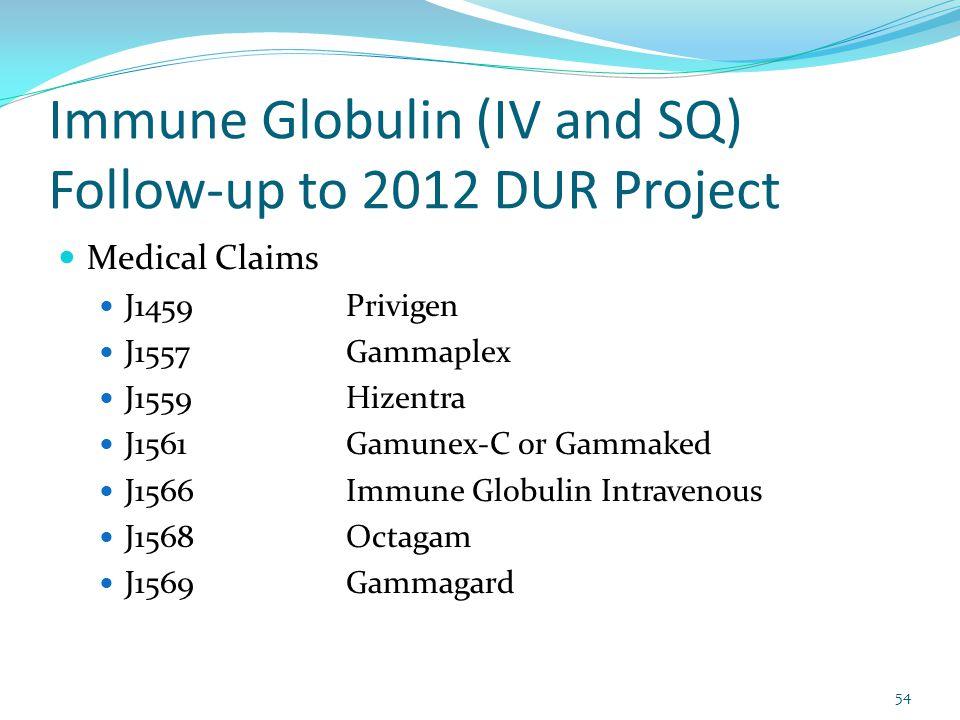 Immune Globulin (IV and SQ) Follow-up to 2012 DUR Project Medical Claims J1459Privigen J1557Gammaplex J1559Hizentra J1561Gamunex-C or Gammaked J1566Immune Globulin Intravenous J1568Octagam J1569Gammagard 54