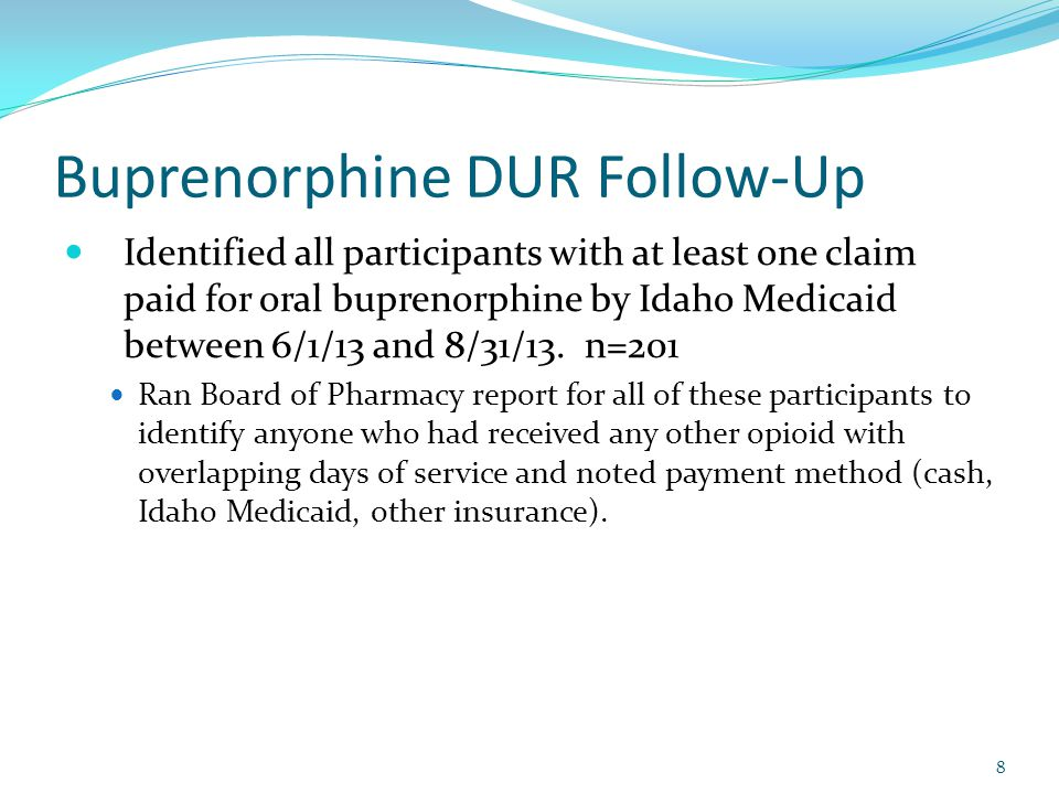 Buprenorphine DUR Follow-Up Identified all participants with at least one claim paid for oral buprenorphine by Idaho Medicaid between 6/1/13 and 8/31/