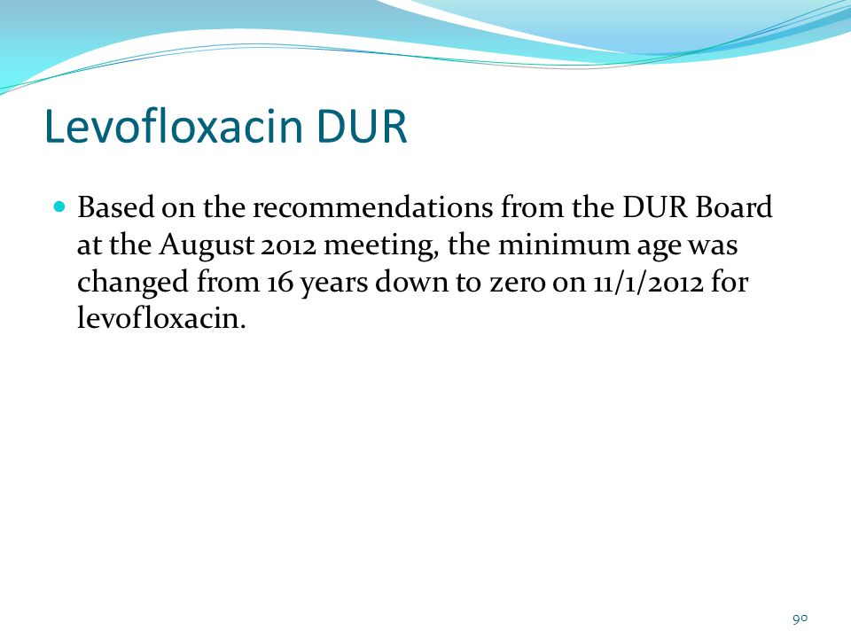 Levofloxacin DUR Based on the recommendations from the DUR Board at the August 2012 meeting, the minimum age was changed from 16 years down to zero on