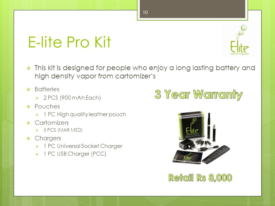 E-lite Star Kit This kit is an advanced version of E-lite Black & designed for people who like a smaller sized E-cigarette without compromising on the battery timing Batteries 2 PCS (280 mAh Each) Portable Charging Case (PCC) 1 PC Charges 6-8 Batteries on full Charge Cartomizers 3 PCS (MAR MED) Chargers 1 PC Universal Socket Charger 1 PC USB Charger (PCC) 9