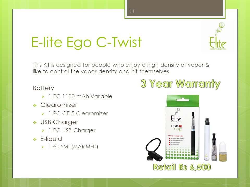 E-lite Pro Kit This kit is designed for people who enjoy a long lasting battery and high density vapor from cartomizers Batteries 2 PCS (900 mAh Each) Pouches 1 PC High quality leather pouch Cartomizers 5 PCS (MAR MED) Chargers 1 PC Universal Socket Charger 1 PC USB Charger (PCC) 10