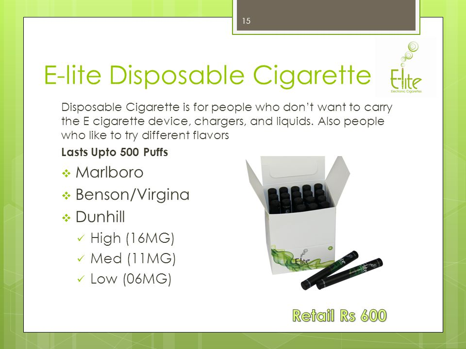 E-lite Basic Kit This kit is designed for people who are not heavy smokers but feel they should just make a switch E-lite.