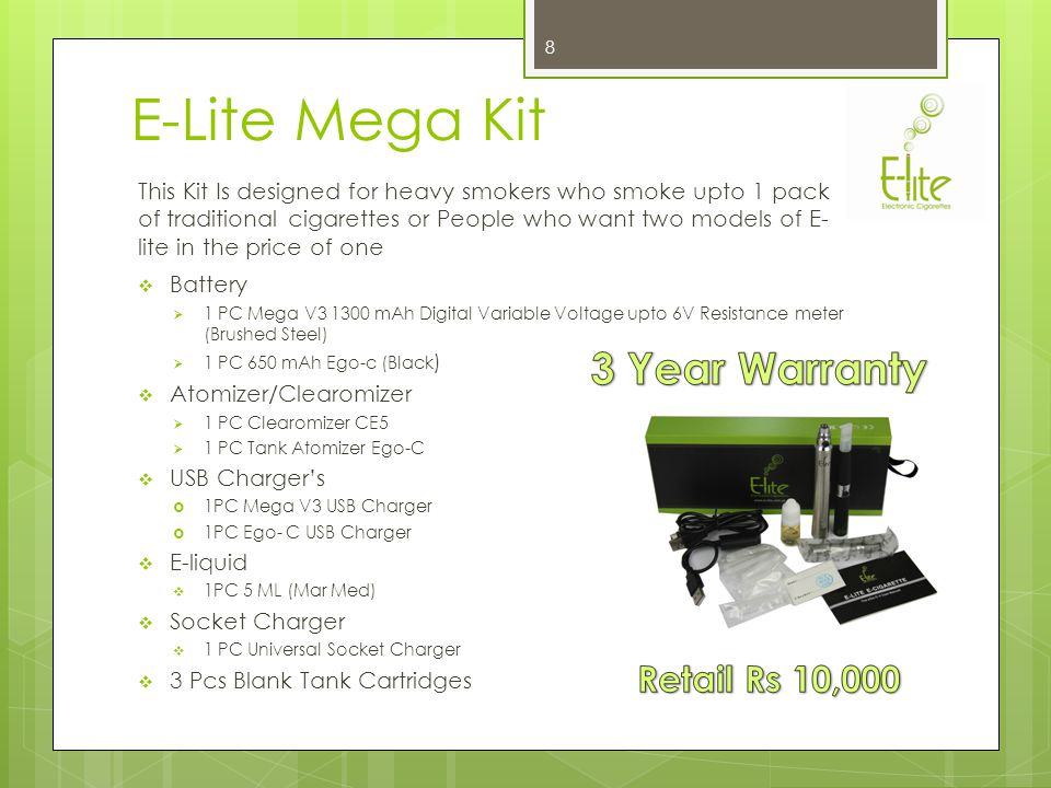 E-lite Electronic Cigarette Products E-lite Electronic Cigarettes : 1.