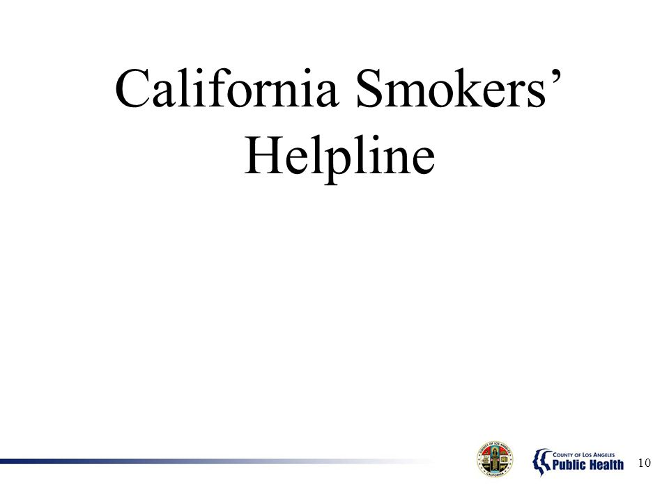 California Smokers Helpline 10