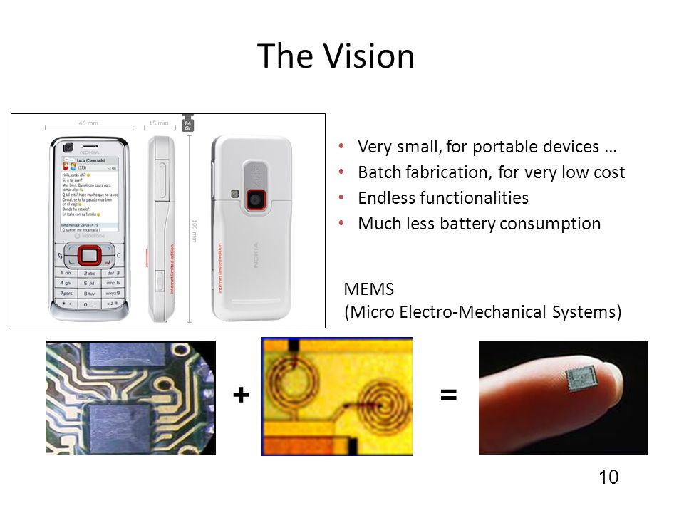 The Vision Very small, for portable devices … Batch fabrication, for very low cost Endless functionalities Much less battery consumption 10 + Micro Me