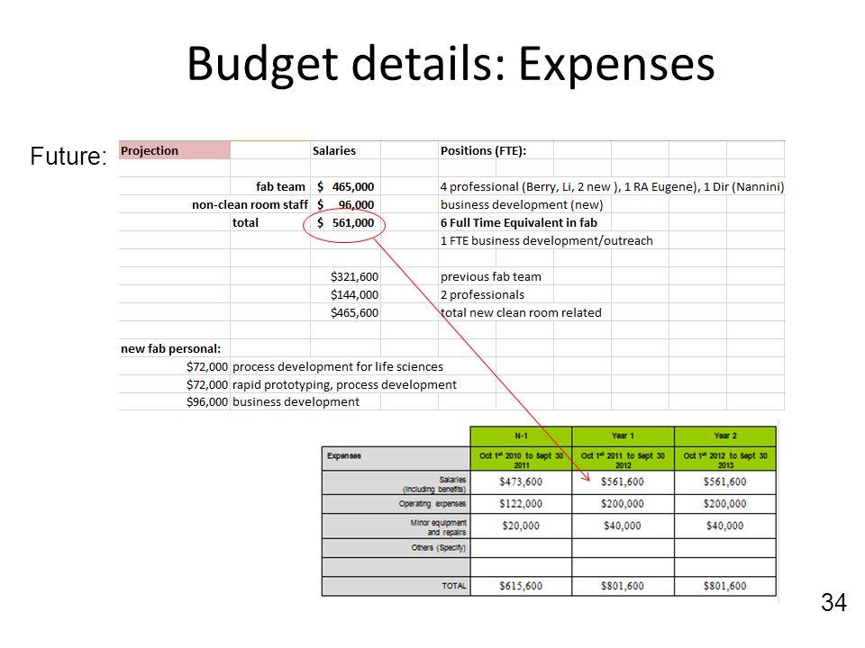 Budget details: Expenses 34 Future: