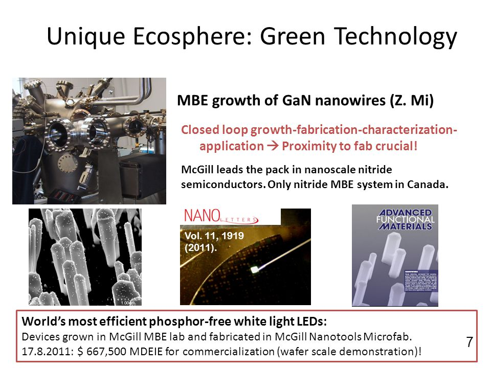 Unique Ecosphere: Green Technology MBE growth of GaN nanowires (Z. Mi) Closed loop growth-fabrication-characterization- application Proximity to fab c