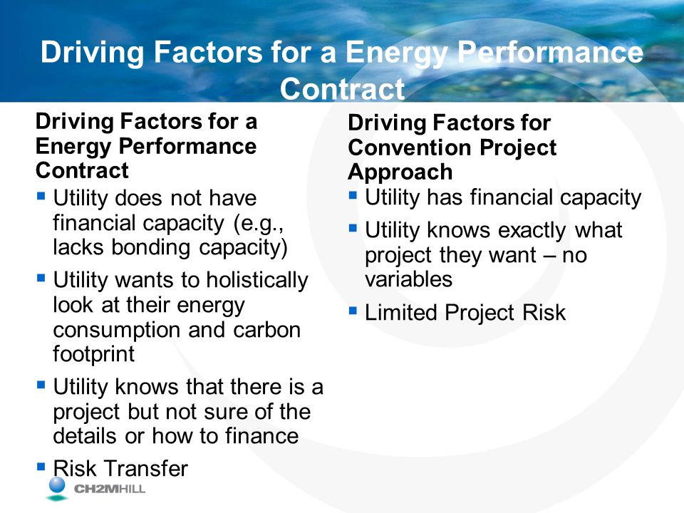 Driving Factors for a Energy Performance Contract Utility does not have financial capacity (e.g., lacks bonding capacity) Utility wants to holisticall