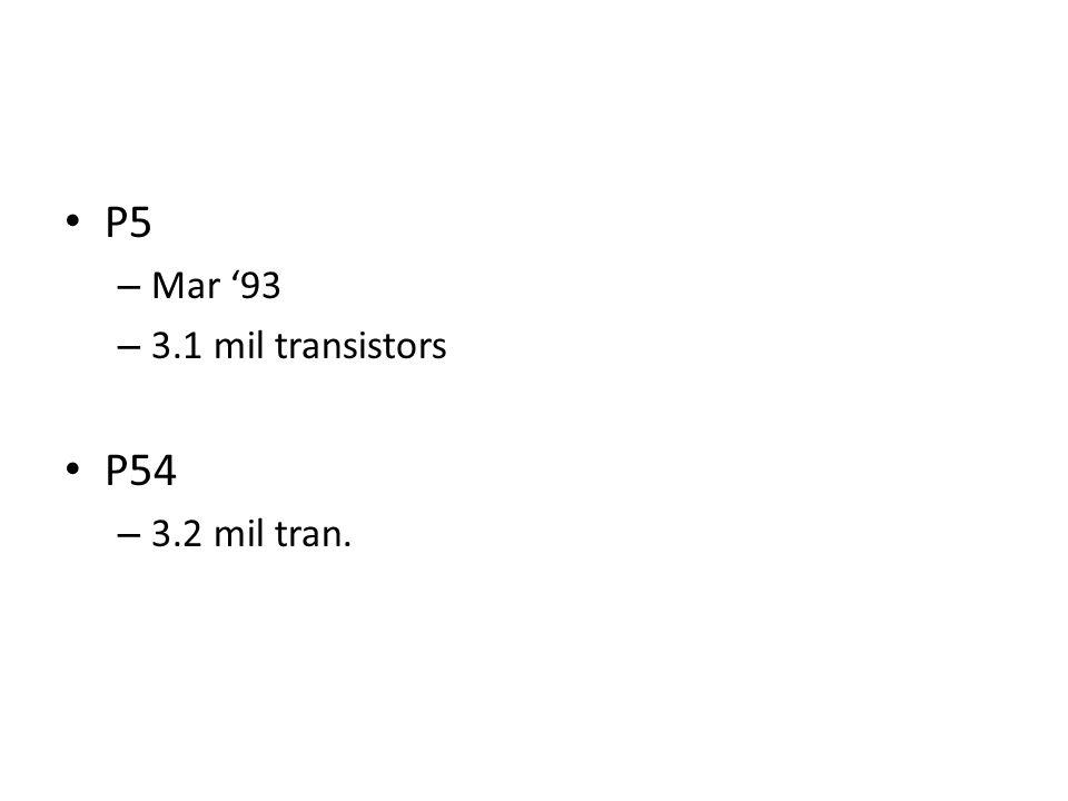 P5 – Mar 93 – 3.1 mil transistors P54 – 3.2 mil tran.