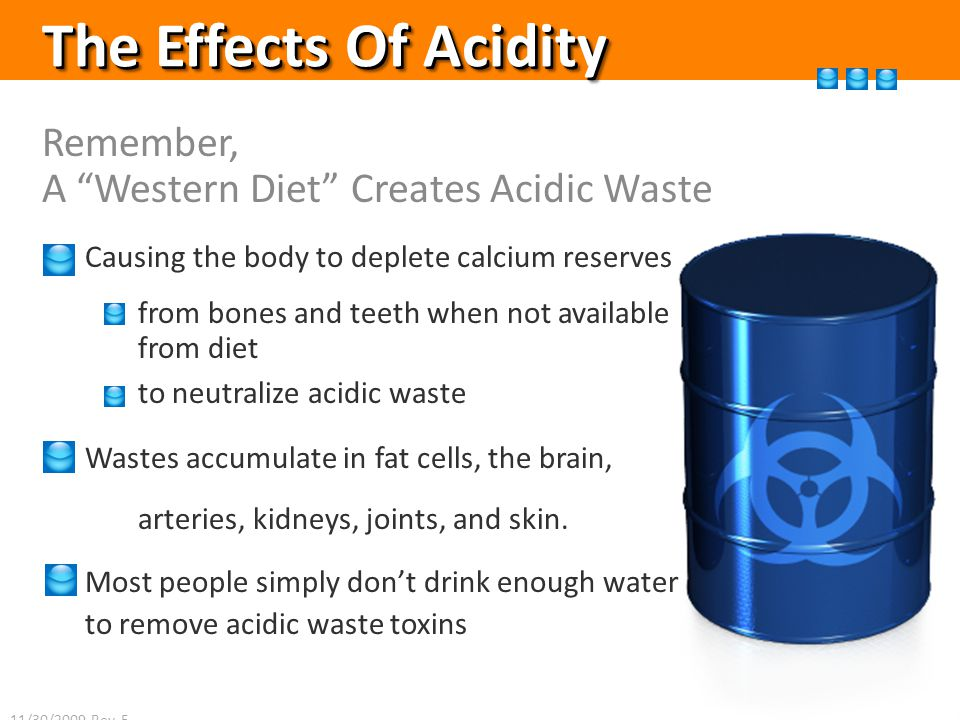The Effects Of Acidity Remember, A Western Diet Creates Acidic Waste Causing the body to deplete calcium reserves from bones and teeth when not available from diet to neutralize acidic waste Wastes accumulate in fat cells, the brain, arteries, kidneys, joints, and skin.