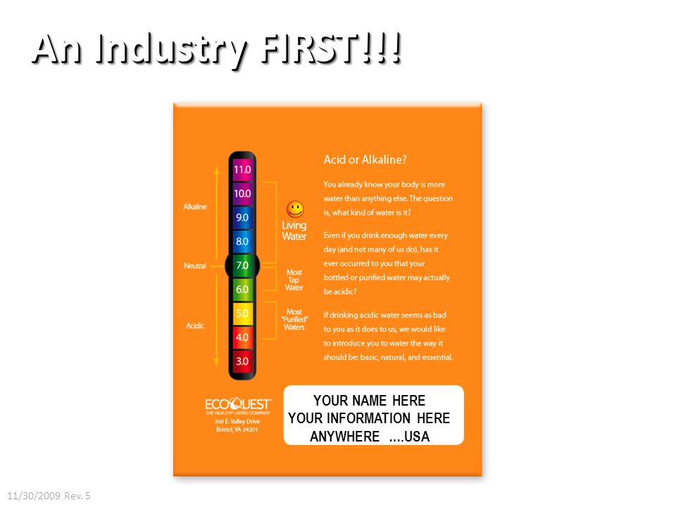 An Industry FIRST!!! YOUR NAME HERE YOUR INFORMATION HERE ANYWHERE ….USA 11/30/2009 Rev. 5