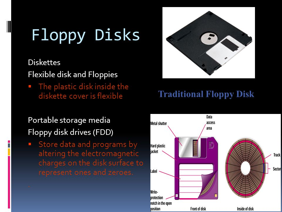 Floppy Disks Diskettes Flexible disk and Floppies The plastic disk inside the diskette cover is flexible Portable storage media Floppy disk drives (FDD) Store data and programs by altering the electromagnetic charges on the disk surface to represent ones and zeroes..