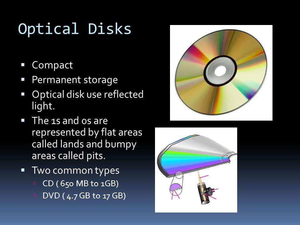 Optical Disks Compact Permanent storage Optical disk use reflected light.