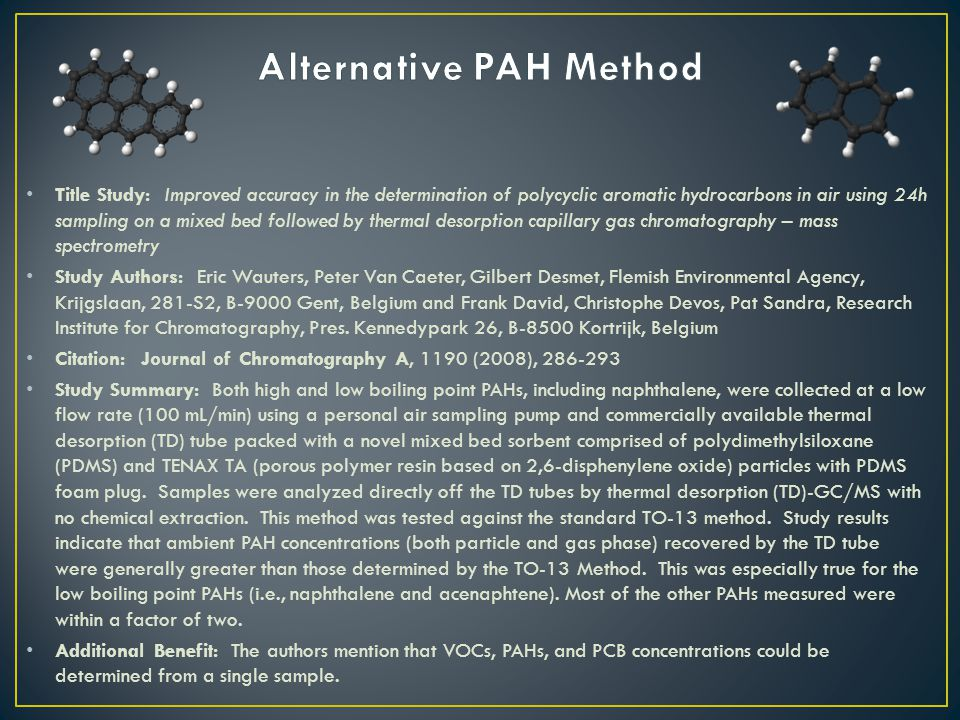 Title Study: Improved accuracy in the determination of polycyclic aromatic hydrocarbons in air using 24h sampling on a mixed bed followed by thermal desorption capillary gas chromatography – mass spectrometry Study Authors: Eric Wauters, Peter Van Caeter, Gilbert Desmet, Flemish Environmental Agency, Krijgslaan, 281-S2, B-9000 Gent, Belgium and Frank David, Christophe Devos, Pat Sandra, Research Institute for Chromatography, Pres.