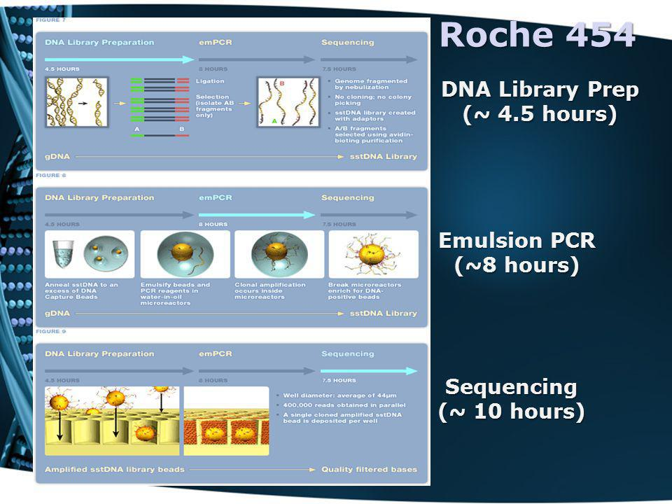 Roche 454 DNA Library Prep (~ 4.5 hours) Emulsion PCR (~8 hours) Sequencing (~ 10 hours)