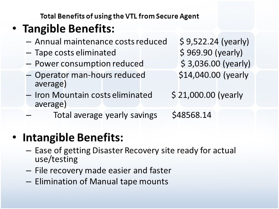 Total Benefits of using the VTL from Secure Agent Tangible Benefits: – Annual maintenance costs reduced$ 9,522.24 (yearly) – Tape costs eliminated $ 9