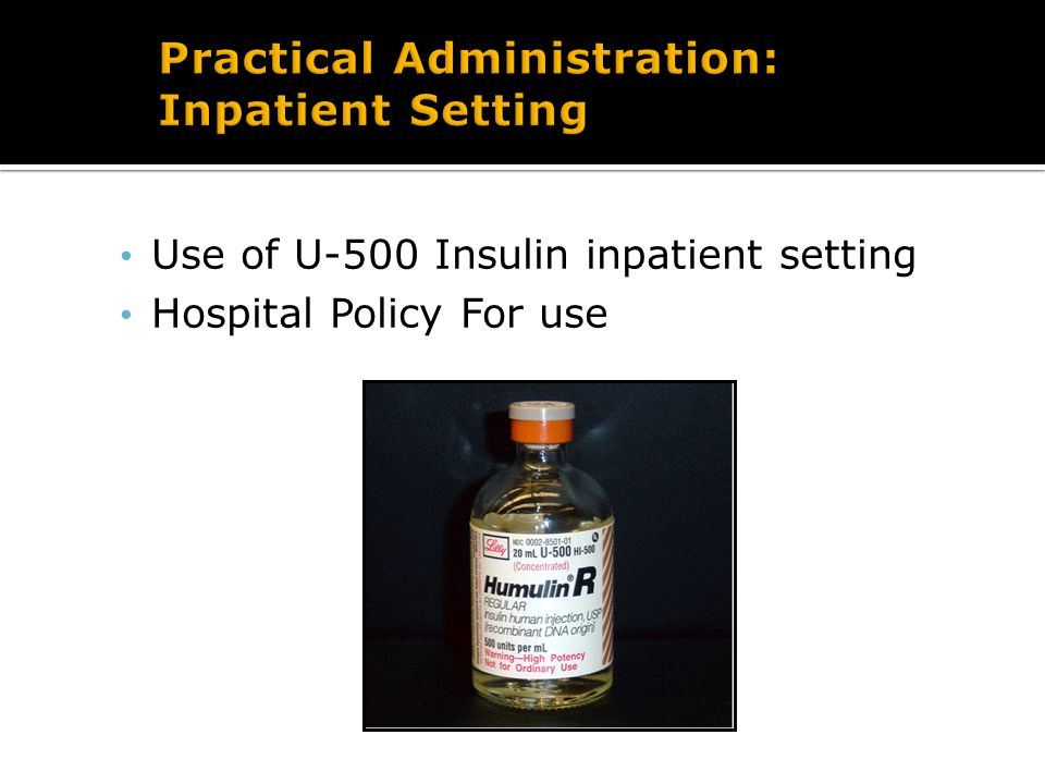 What is influencing insulin requirements… Influenced by type of diabetes Influenced by energy intake - Insulin requirements when fasting - Insulin requirements after bariatric surgery Influenced by device/mechanical issues: -Pumps with bolus rate limits of 1 unit per 40 seconds, maximum bolus of 25-30 units, and cartridge that holds 180-300 units - Pens with maximum amount of 60 unit or 80 unit bolus - Cost and insurance