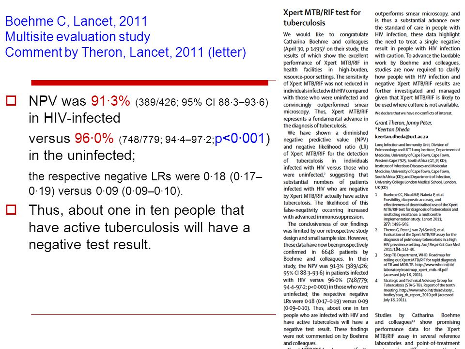 Boehme C, Lancet, 2011 Multisite evaluation study Comment by Theron, Lancet, 2011 (letter) NPV was 91·3% (389/426; 95% CI 88·3–93·6) in HIV-infected versus 96·0% (748/779; 94·4–97·2; p<0·001) in the uninfected; the respective negative LRs were 0·18 (0·17– 0·19) versus 0·09 (0·09–0·10).