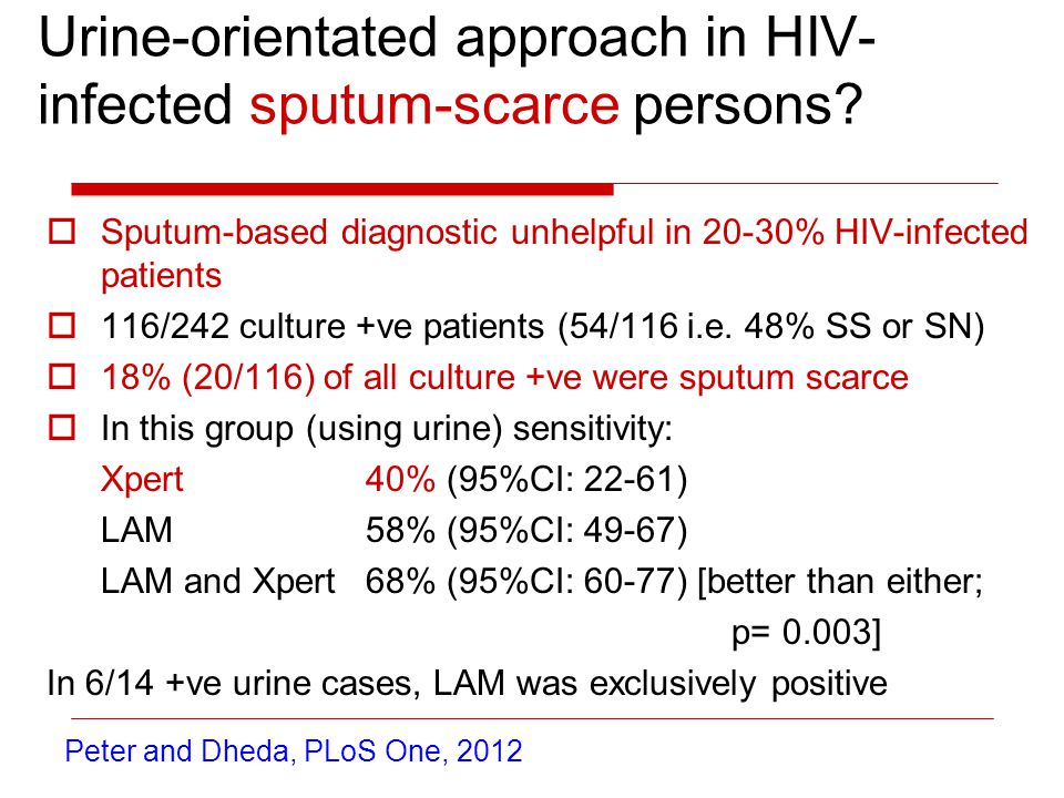 Urine-orientated approach in HIV- infected sputum-scarce persons.